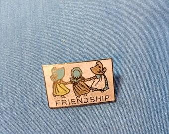 Vintage Lapel Pin, 80's Lapel Pin, Friendship Lapel Pin, Collect Lapel Pins