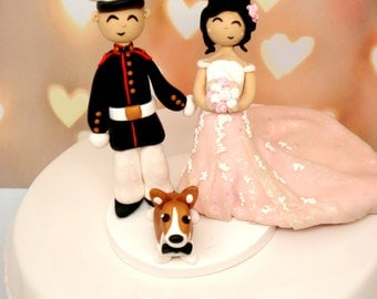 Custom Military Wedding Cake Topper Pets Cake Topper Custom Bride and Groom Custom Wedding Decor