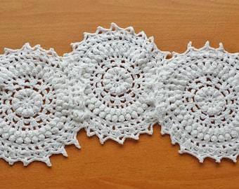 White Crochet Doilies, 3 Matching Coaster Doilies, 5 to 5.5 inch Doilies, Wedding Doilies