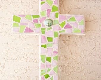 Large Wall Cross Decorative Cross Wall Hanging Cross Stained Glass Mosaic Cross Mosaic Art Pink and Green Cross Religious Gift for Her