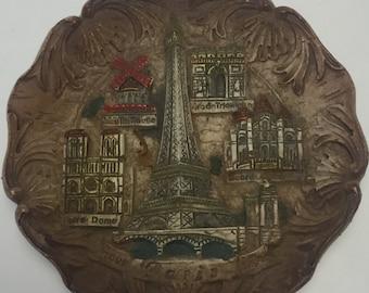 Paris Souvenir Relief Wall Plaque, Resin