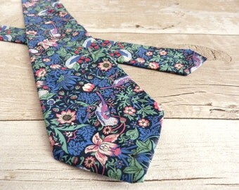 Blue Liberty Print Tie - Strawberry Thief Necktie - Floral Tie - Wedding Necktie - Fathers Day Gift - Blue and Pink Tie - Gift For Boyfriend