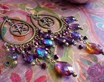 """FREE SHIP!- Purple & Topaz Crystal Wiccan Pentagram Star, Peace or Om Symbol Chandelier Earrings, Good Witch, 4"""" Pentacle Magic, Mystical"""