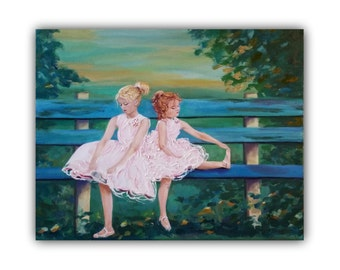 Oil Painting, BALLERINAS children, kids, tutu, dresses, sisters, park bench, trees, impasto, painting, leaves, landscape, children, ballet