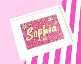 Custom Baby Name Glitter Fabric A4 Nursery Wall Art, Name Sign,