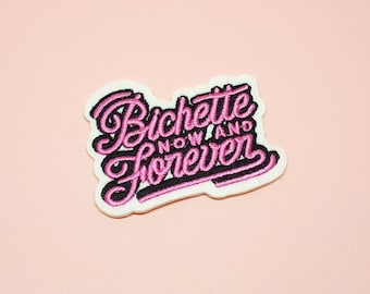 Iron on patch Bichette Forever pink black and white