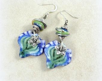 Artisan Ceramic & Lampwork Earrings, Blue and Green Glazed Ceramic Earrings with Artisan Lampwork Beads, Blue Earrings, Green Earrings