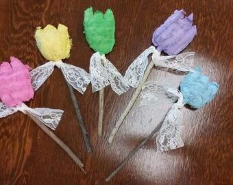 Art flowers, Tulips, Primitive, Hand Painted, Vintage Lace, Real Sticks, Bowl Fillers, Floral Decor, OFG