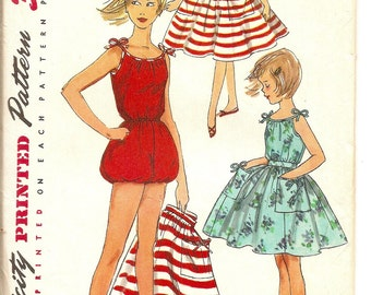 FF Girls 1950s Playsuit Pattern, Romper with Skirt, Simplicity 1599, Girl size 12, Bust 30""