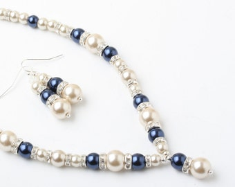 Champagne and navy Bridal necklace, wedding necklace, pearl and rhinestone necklace, Bridal pearl necklace and earrings set, wedding jewelry