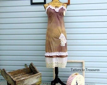 Hand-Dyed Refashioned Vintage Slip Dress Hand-Embellished  Vintage Lace Upcycled Repurposed Tattered Eco-Friendly Altered Couture
