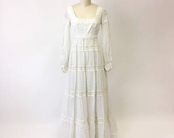 1970s White Cotton Crochet Lace Maxi Dress