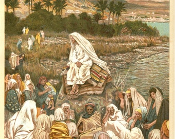 Jesus Teaching on the Sea Shore by J. James Tissot, Antique Religious 9x12 Art Print c1897, Sea of Galilee, FREE SHIPPING