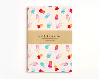 Summer notebook, Summer journal, popsicles pattern notebook, ice cream notebook, beach notebook, pastel color notebook, summer pattern