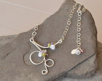 Spring Necklace, Spring Jewelry, Gemstone Sterling Silver Necklace, Pendant Necklace, Amethyst Peridot Jewelry