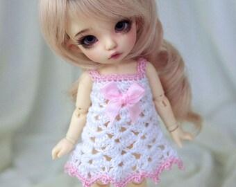 White-pink crocheted dress for PukiFee, Lati Yellow