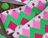 "Geometric Easter:  Pink, Green, White Embroidered Silk Trim, Ribbon, Sari Border, India 3 1/8""x 1 Yard, Spring, Summer Craft, Sewing Supply"