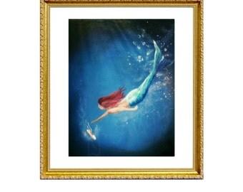 Reach for a Dream - Print on Archival Matte Paper, By Alycia D'Avino, Ballerina Art, Mermaid Painting, Underwater Art, Wall Decor, Ballet