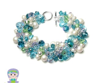 Mermaid Bracelet Swarovski Crystal Cluster Blue Green Sea Turquoise Violet Iridescent White Pearl Silver Chain Women's Beach Wedding Jewelry