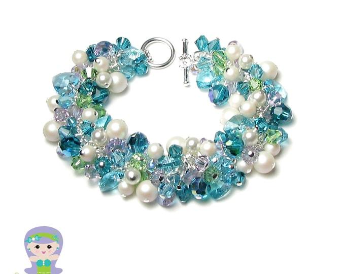 Mermaid Bracelet Swarovski Crystal White Pearl Cluster Teal Blue Green Sea Turquoise Violet Silver Women's Ocean Theme Beach Wedding Jewelry