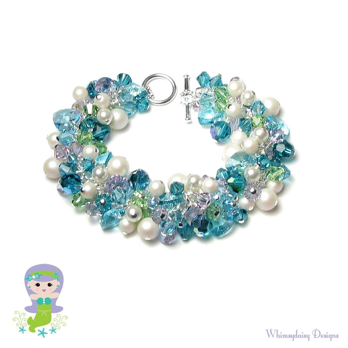 Mermaid Bracelet Swarovski Crystal White Pearl Cluster Teal Blue ...