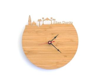 San Diego Skyline Clock - Cherry and Walnut Modern Wall Clock