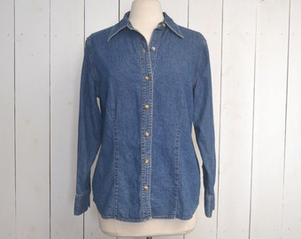 Denim Chambray Button Up - Early 90s Eddie Bauer Womens Oxford Shirt - Medium Wash - Medium M / Large L