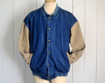 Denim Canvas Bomber Jacket Early 90s Tan Blue Button Up Vintage Woodland Outdoors Coat Mens Large