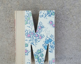 Upcycled Book Letter Decor - Blue and Pink M