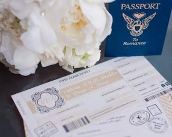 Travel Wedding Invitation Set   Boarding Pass Wedding Invitations   Champagne Gold   Plane Ticket Invitations For a Destination Wedding