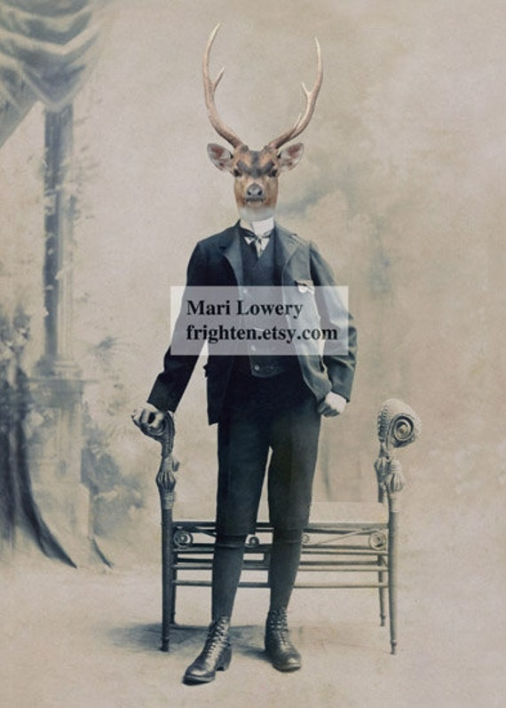 Deer in Suit Victorian Animal in Clothes Masculine Wall Art 5x7 or 8x10 Print