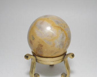Vintage 59mm Polished Tan Marble Sphere and Solid Brass Stand, 59mm Polished Tan Marble Sphere and Brass Stand, Marble Sphere and Stand
