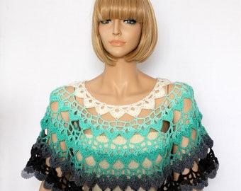 Capelet Shoulder Warmer Rainbow Crochet Shawl neck warmer  Crochet Cowl Woman's Scarf  Bolero Shrug Capelet Wrap Shawl
