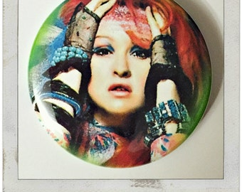 "Cyndi Lauper - Large 2.25"" Pin Back Button"