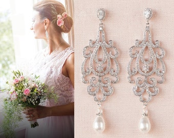 Crystal Bridal Earrings, Pearl Drop Wedding earrings, Rose gold, Gold, Swarovski, Wedding jewelry, Bridal Jewelry, Katilee Earrings