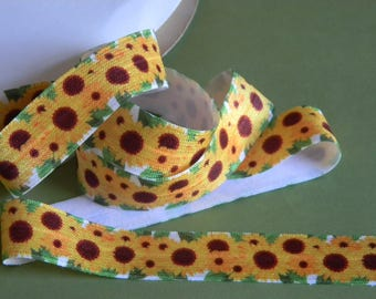 """Sunflower FOE 5 yards of 7/8"""" White Fold Over Elastic Yellow Brown Flower Baby Girl Headband Connector Party Favor Tie Spring Summer Wedding"""