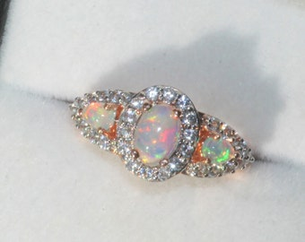 STUNNING Rose Gold Welo Opal Ring,Genuine Welo Ethiopian Opal Gemstone Ring,Rose Gold Pave Band,October Birthstone,Solid Opal,Gift For Her