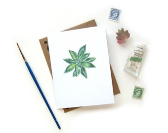 Succulent 1 Watercolor Greeting Card | Handpainted Houseplant Illustration Small Greeting Card Kraft Envelope