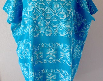 "Collectors Mexican Huipil tunic dress handwoven gauze Turquoise Oaxaca Amuzgos floral patterns boho resort Frida Kahlo 30""W x 36""L"