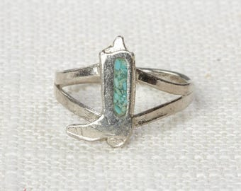 Cowboy Boot Vintage Ring Silver Turquoise Cow Girl US Womens Sizes 7D