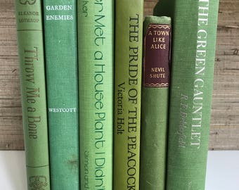 green decorative books, green vintage books,Home Decor,Interior Design,Book Stack,Staging,wedding decor,photo prop, library,office decor