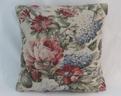 "Pink and Blue Floral Pillow Cover, 17"" Square Beige Linen Blend Vintage Look Roses Raspberries Strawberries, Ready Ship"