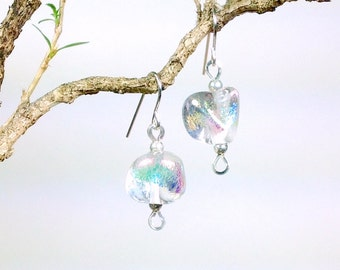 Clear glass and rainbow dichroic earrings
