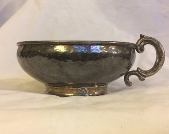 Antique Hand Hammered Sterling Silver Bowl with Handle from Plateria Mendoza Mexico Signed with Old Style Eagle