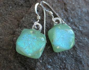 Sterling Silver Earrings Mint Green Dichroic Dangle Fused Art Glass