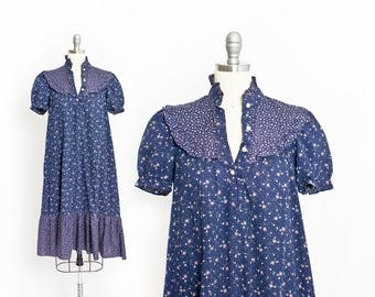 Vintage 1970s Dress - Blue Floral Cotton Tent Dress Boho Hippie Prairie 70s - Small