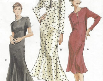 Womens Empire Waist Dress Skirt with Godets Two Lengths OOP Vogue Sewing Pattern V7821 Size 12 14 16 Bust 34 36 38 UnCut