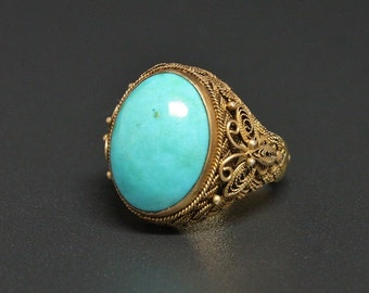 Vtg China Turquoise Ring Gold Vermeil Sterling Export Ring