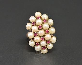 14K Pearl Ruby Cluster Ring Vtg 1960s Large Cocktail 14K Ring Size 8.25