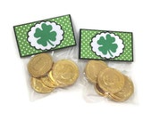 St Patrick's day favor bags, treat bags, four leaf clover bags, set of 12 favor bags, green treat bag toppers, favor bag toppers,